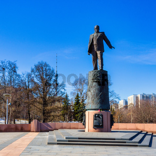Sergei Korolev Sculpture inside Memorial Park near Rocket Monument to the Conquerors of Space in Moscow, Russia.