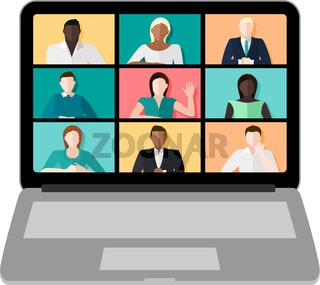 Laptop Video Conference Vector