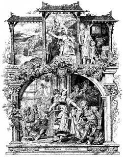 Romantic illustration, book Deutsches Liederlexikon by A. Haertel, 1865