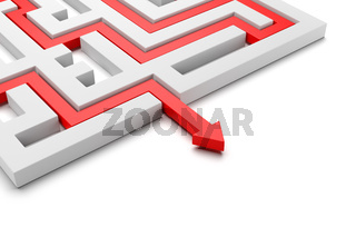 Red Arrow Coming Out of a Maze with Copy Space 3D Illustration on White Background