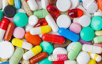 Heap of pills - medical background