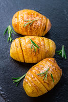 Hasselback potatoes. Backed potatoes from Sweden with garlic and herbs grilled in the oven.
