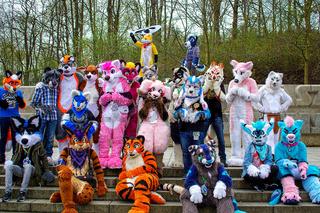 Volkspark Friedrichshain, Berlin, Germany - april 14, 2018: european furry meeting in Berlin