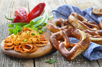 Bavarian cheese with fresh pretzels
