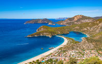 Panoramic view of Oludeniz beach and Blue lagoon, Fethiye, Turkey.