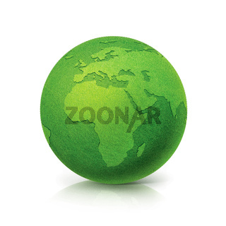 ECO Green globe Europe and Africa map on white background