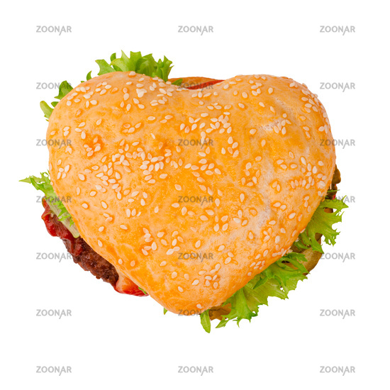 Heart shape hamburger on white
