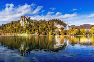 Medieval castle on Bled lake in Slovenia Medieval castle on Bled lake in Slovenia