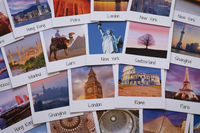 Postcards of different travel destinations