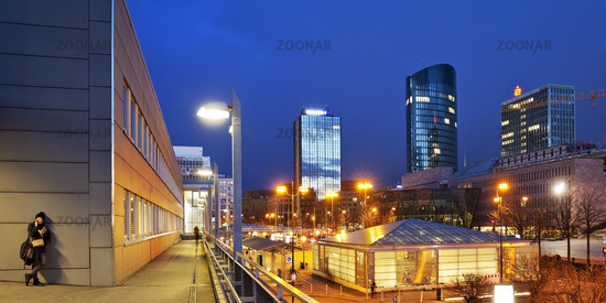Central station with a view of the city center with RWE tower, Dortmund, Germany, Europe
