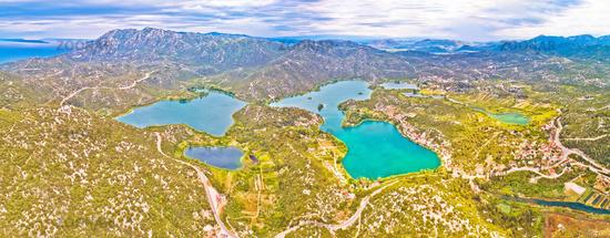 Bacina lakes landscape aerial panoramic view