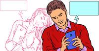 A couple in love, a young man and a girl are chatting on social networks by phone