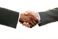 Interracial handshake on white background isolated