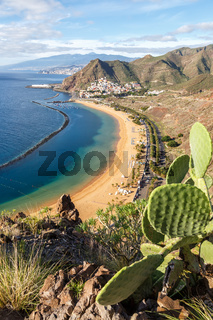 Tenerife beach Teresitas Canary islands sea water Spain travel traveling portrait format Atlantic Ocean