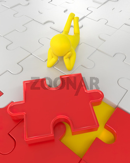 3D illustration,3D rendering,The character is wearing the last piece of the jigsaw puzzle to complete the mission. Includes selection path of floor and background.
