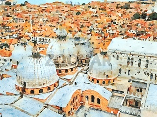 the view of the roofs of the church of San Marco in Venice and the lagoon in the background