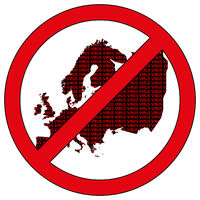 Europe silhouette with the word virus in prohibitory sign
