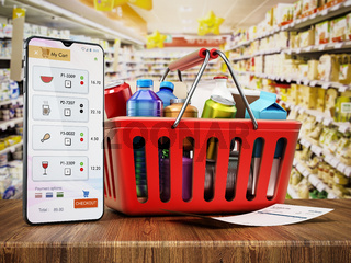 Smartphone and receipt standing next to the shopping basket. Online supermarket shopping concept. 3D illustration