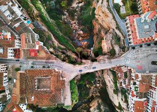 Aerial photography Ronda cityscape. Costa del Sol, Malaga, Spain