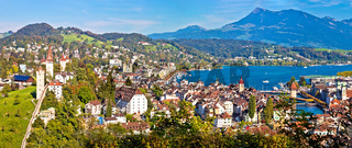 City and lake of Luzern panoramic view from the hill