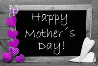 Balckboard With Purple Heart Decoration, Text Happy Mothers Day, Gray Wooden Background