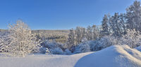 Panorama of snowy winter forest in mountain - wonderful walk