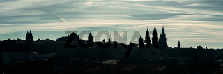 Wide Panoramic view of Santiago de Compostela. Silhouetted skyline of Compostela old town