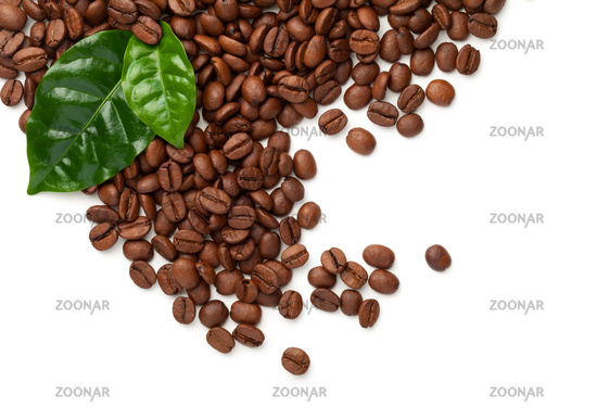 Coffee Beans With Green Leaves Isolated