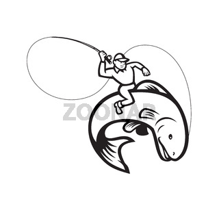 Fly Fisherman Riding Trout Fish Cartoon Black and White