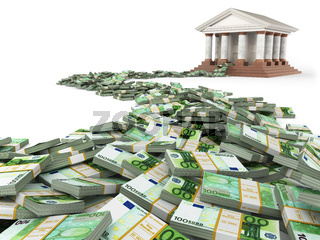 Finance concept. Euro and bank building.