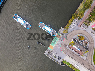 Amsterdam, The Netherlands, 31 October 2020 Aerial of Amsterdam ferries docking