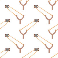 Slingshot Weapon Icon Seamless Pattern Isolated on White Background