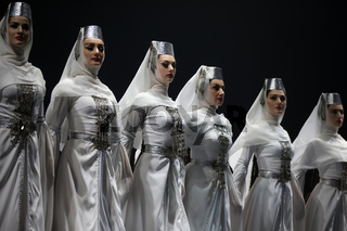 Belarus, Gomel, February 27, 2018. Concert hall. Speech of the national Georgian ballet Sukhishvili.Georgian women are dancing