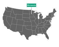 Minnesota Ortsschild und Karte der USA - Minnesota state limit sign and map of USA