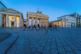 Pariser Platz and Brandenburg Gate. Early morning. Desert area caused by quarantine as a result of coronavirus infection. Berlin