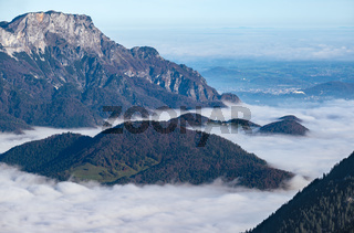 Autumn Alps mountain misty morning view from Jenner Viewing Platform, Schonau am Konigssee, Berchtesgaden national park, Bavaria, Germany.