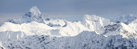 Amazing Winter Panorama with the snow covered Mountains Hochvogel, Hofats in Allgau Alps, Bavaria, Germany.