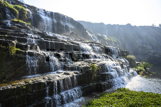 Tropical rainforest landscape with flowing Pongour waterfall in Da Lat, Vietnam. Four images panorama