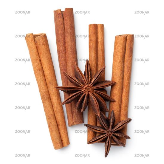 Cinnamon Sticks With Anise Stars Isolated