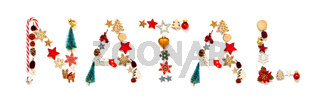 Colorful Christmas Decoration Letter Building Natal Means Christmas