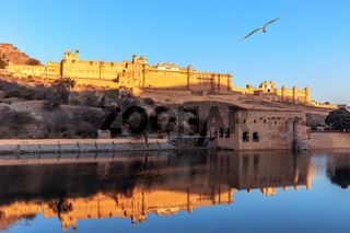 Amber Fort full view from the lake, Jaipur, India