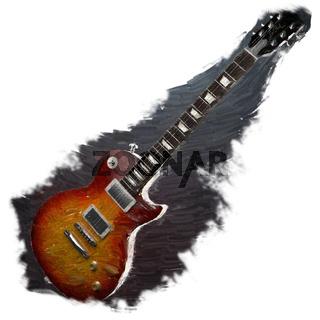 watercolor painted guitar