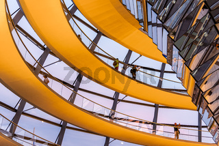 Interior view of the helicoidal ramp in the Reichstag building in Berlin