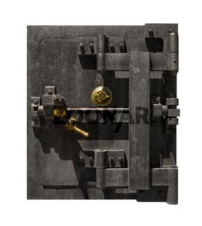 Massiver Tresor aus Stahl mit goldenen Elementen