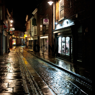 YORK, NORTH YORKSHIRE/UK - FEBRUARY 19 : View of buildings and architecture in the Shambles area of  York, North Yorkshire on February 19, 2020. One unidentified person