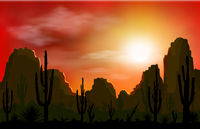 Rocky desert with cacti at sunset