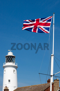 Union Jack Flag Flying near the Lighthouse in Southwold