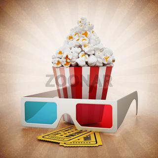 Popcorn, 3D glasses and cinema tickets on vintage background