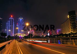 skyline at night in macau china