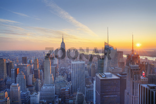 Empire State building and Manahtten at sunset